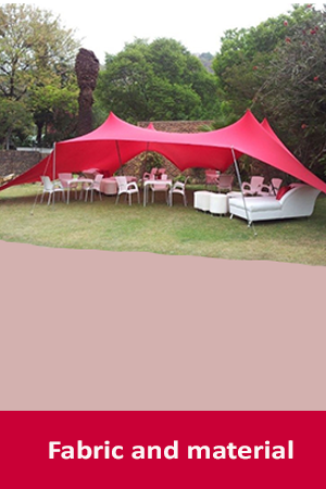 red stretch tent